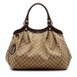 Gucci Sukey Large GG Cocoa Canvas Tote Bag